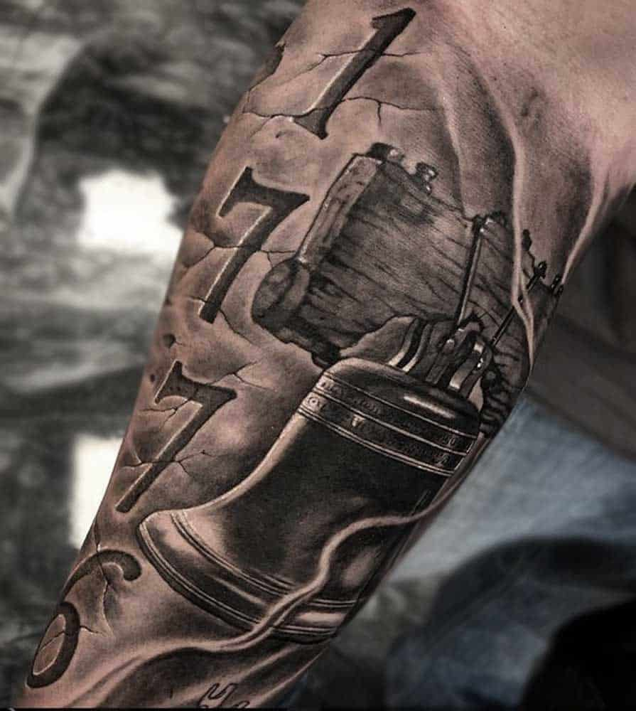American Liberty Bell Black and Grey Tattoos Fayetteville NC