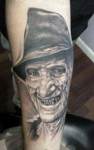 Best Black and Grey Tattoo Shops Fayetteville NC Freddy Horror Portrait