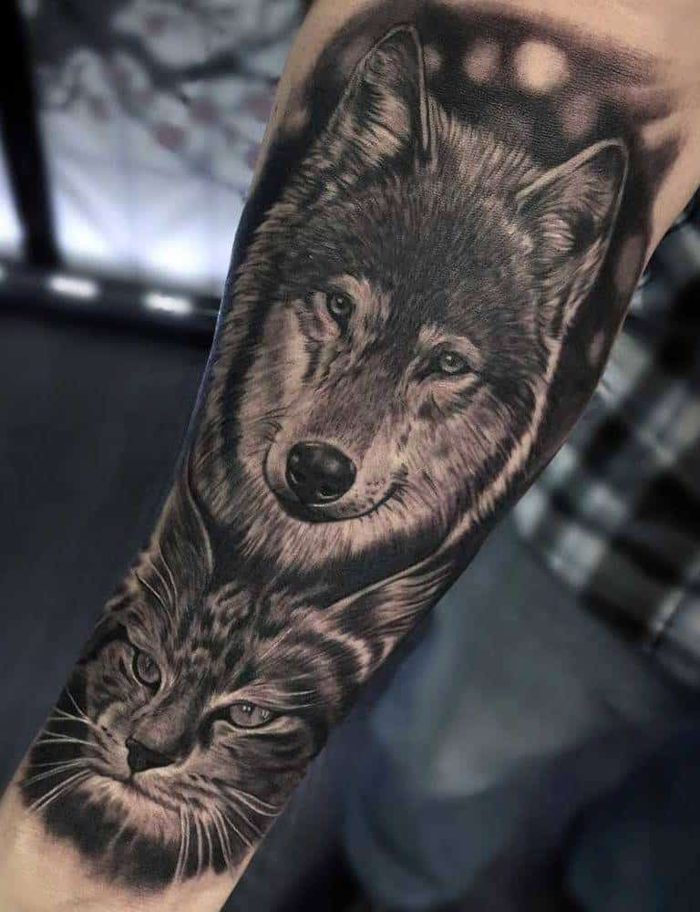 Best Wolf Custom Realism Black and Grey Tattoo Fayetteville NC