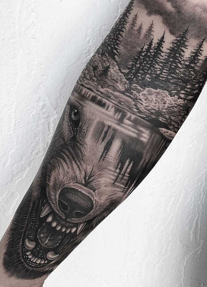 Black and Grey Wolf Arm Sleeve Tattoo Shops Fayetteville NC