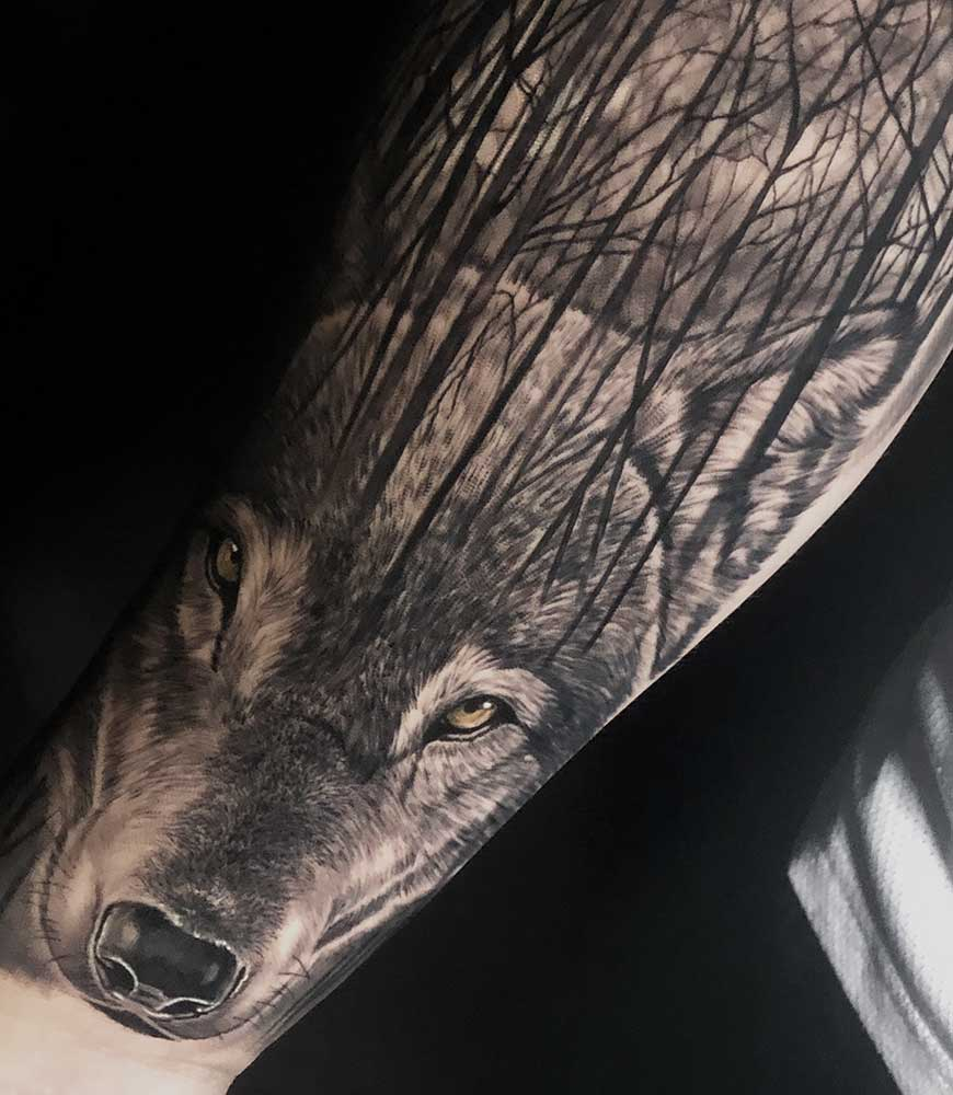 Black and Grey Wolf Tattoo Fayetteville NC