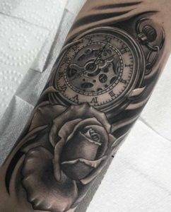 Clock and Rose Realistic Black and Grey Tattoo