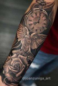 Dove Rose and Clock Fayetteville Tattoo