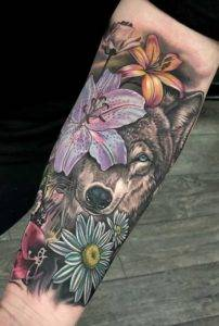 Girl Arm Sleeve Tattoo Color & Black and Grey Flowers and Wolf