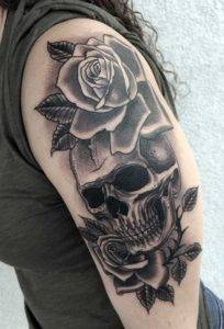 Girl Arm Sleeve Traditional Black and Grey Tattoo