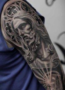 Jesus Arm Sleeve Black and Grey Military Tattoo Fayetteville NC