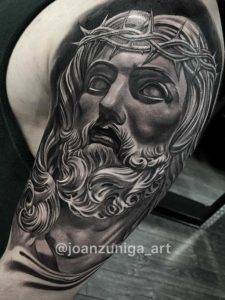 Jesus Arm Sleeve black and Grey Tattoo Studios Fayetteville NC