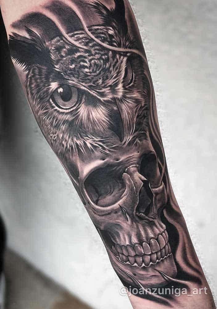 Owl and Skull Best Black and Grey Tattoo Artist Near Me