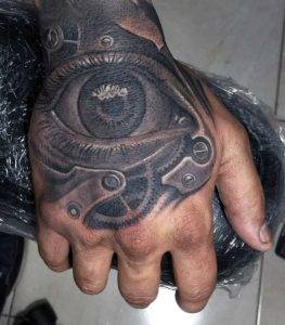 Realistic Eye Hand Tattoo Black and Grey Realism