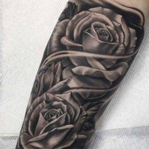 Roses Black and Grey Tattoo Fayetteville NC Best Tattoo Sleeve