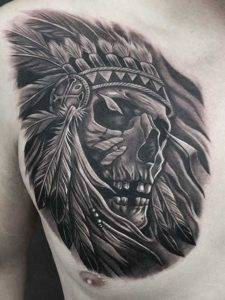 Skull Indian Chief Chest Black and Grey Tattoo