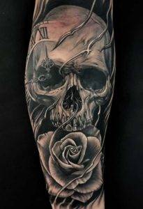 Skull & Rose Tattoo Sleeve Custom Realism Black and Grey