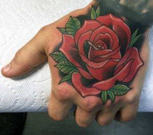 Traditional Hand Color Tattoo Fayetteville NC