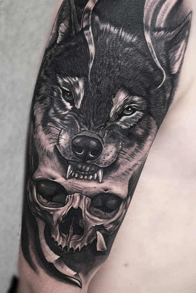Wolf Skull Best Cover-up Black and Gray Tattoo Shops Fayetteville NC