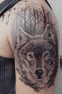 Wolf and Trees Black and Grey Tattoo Artist Fayetteville NC