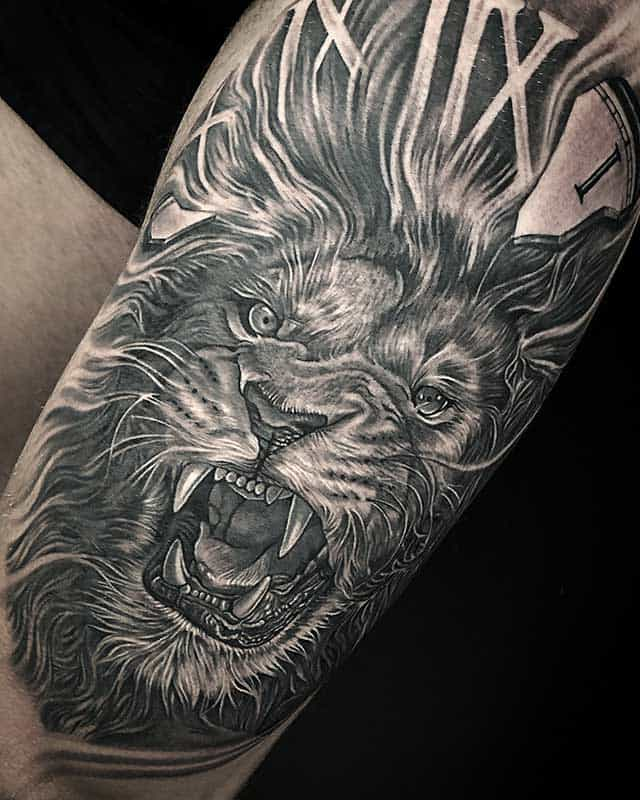 black and grey tattoo shops near me realistic custom top rated lion