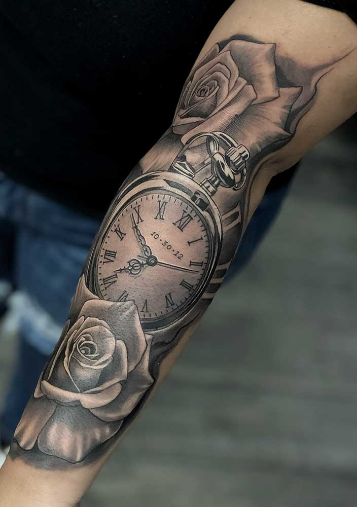 clock roses custom full sleeve tattoo