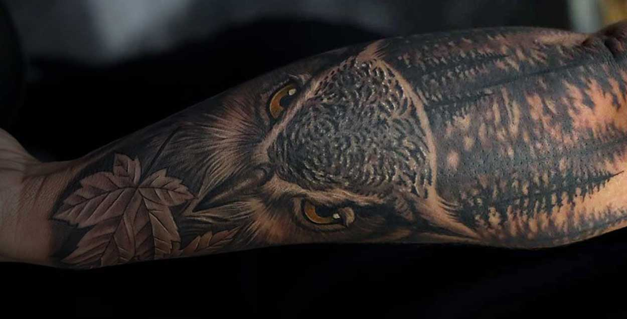 owl realism black and grey tattoo fayetteville nc