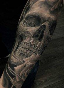 realistic Skull Black and Grey Tattoo Fayetteville NC